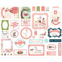 Высечки Carta Bella - Rock-A-Bye Baby Girl Ephemera Cardstock Die-Cuts - Icons