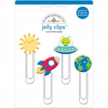 Набор декоративных скрепок Doodlebug - Jelly Clips - Out Of This World