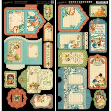 Лист высечек Graphic 45 - Children's Hour Cardstock Die-Cuts - Tags & Pockets