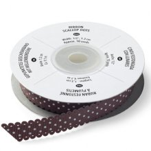 Лента Stampin Up - Ribbon Scallop Dots, Chocolate Chip, ширина 1,2см