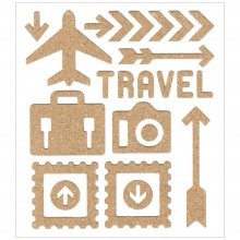 Наклейки Multicraft Imports - Cork Elements Stickers Sheet - Travel