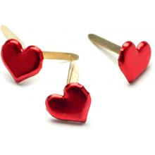Брадсы Creative Impressions - Painted Metal Paper Fasteners - Hearts - Metallic Red