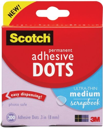 Клеевые капли Scotch® Permanent Adhesive Dots - Ultra Thin - Medium - 8 мм, 200 шт